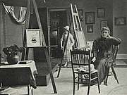 """Author photo. Kate Greenaway in her studio, 1895<br>Courtesy of the <a href=""""http://digitalgallery.nypl.org/nypldigital/id?834185"""">NYPL Digital Gallery</a><br>(image use requires permission from the New York Public Library)"""