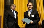 Author photo. Walt Handelsman, on right.  Columbia University.  <A HREF=&quot;http://www.pulitzer.org/citation/2007%2CEditorial+Cartooning&quot;> pulitzer.org</A>