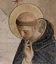 Author photo. Saint Dominic, detail from a fresco by Fra Angelo in the Dominican Abbey of St. Mark, Florence, Italy.