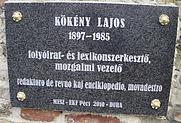 Author photo. Plaque of Lajos Kökény Pécs, Hungary