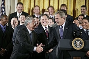 Author photo. Shaking hands with manager Jack McKeon, President George W. Bush hosts a visit by the 2003 World Series Champions, the Florida Marlins, at the White House Friday, Jan. 23, 2004. White House photo by Paul Morse  (whitehouse.gov)