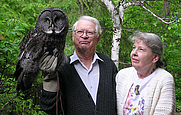 "Author photo. Robert W. Nero with ""Lady Gray'l"" and his wife, Ruth [credit: Global Owl Project]"
