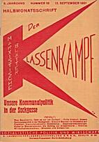 Der Klassenkampf. 5. Jahrgang. Nummer 18.…