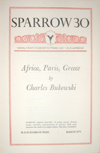 SPARROW 30: Africa, Paris, Greece by Charles…