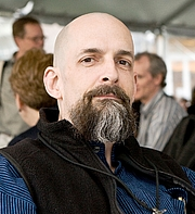 Author photo. U.S. novelist Neal Stephenson at Science Foo Camp 2008. Author Bob Lee; cropped by Beyond My Ken