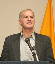 Author photo. Norman Finkelstein giving a talk at Suffolk University in Massachusetts