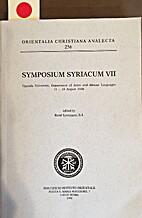 Symposium Syriacum VII by Symposium Syriacum