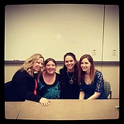Author photo. Photo taken when I was in a class taught by Jennifer Barnes and she invited other authors to talk to us. Author on left with blond hair is Ally Carter, next to her is me (just a fan), then Jennifer Lynn Barnes, and Rachel Vincent
