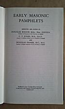 Early Masonic Pamphlets by Douglas Knoop