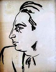 Author photo. Ştefan Dimitrescu - Portretul lui George Călinescu, tuş cu pensula pe hârtie de desen, 1929