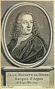 "Author photo. The Hague edition (1742) of his ""Lettres juives"""