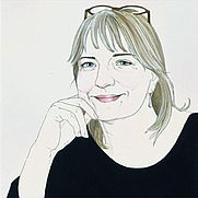 Author photo. Drawing by Lara Tomlin