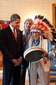 Author photo. Barack Obama and Joe Medicine Crow, in 2009.