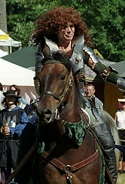 Author photo. This is an old one, but the only one I have on hand. It's me during my performing days with the Seattle Knights, probably about 2000 or 2001, on my Morgan gelding, Magic.