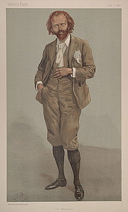 "Author photo. ""The Manxman"" Caine as caricatured in Vanity Fair, July 1896"