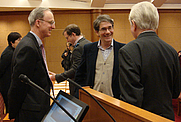 Author photo. G. Thomas Tanselle on right. Photograph by Petrina Jackson