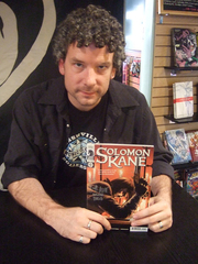 Author photo. introducing his new series Solomon Kane at Newbury Comics, Fanueil Hall, Boston on Sept. 24th, 2008