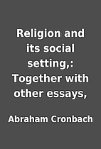 Religion and its social setting,: Together…
