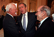 Author photo. President George W. Bush chats with Hall of Famer's Sparky Anderson, left, and Yogi Berra in a ceremony in the East Room of the White House on March 30, 2001. WHITE HOUSE PHOTO BY PAUL MORSE (whitehouse.gov)