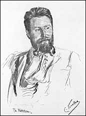 Author photo. Drawing by Christian Krogh (1892)