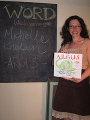 Author photo. Birthday/Book launch party for ARGUS, 2/22/11