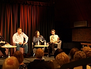Author photo. Pauline Rowson taking a question from the audience at CSI Gateshead where she appeared with fellow crime writers, Matt Hilton and Mari Hannah 25 April 2013
