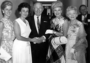 Author photo. Former President Harry S. Truman (center) with Ginger Rogers (second from the right) and her mother, Lela Rogers (right) at the Truman Library in Independence, Missouri. The two women at left are unidentified. (trumanlibrary.org)