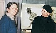 """Author photo. St. Gallen, Switzerland, 1999, group exhibition, Textilmuseum """"Jahrtausenwende"""", Anne-Richard Wanner (left) Curator of the Museum"""