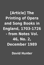 [Article] The Printing of Opera and Song…