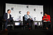 """Author photo. Librarian of Congress Carla Hayden moderates the """"Essential Libraries"""" panel with Joshua Hammer and Alberto Manguel at the National Book Festival, August 31, 2019. Photo by Shawn Miller/Library of Congress. By Library of Congress Life - 20190831SM1159.jpg, CC0, <a href=""""https://commons.wikimedia.org/w/index.php?curid=82899309"""" rel=""""nofollow"""" target=""""_top"""">https://commons.wikimedia.org/w/index.php?curid=82899309</a>"""
