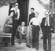 Author photo. Bourbaki congress 1938, from left to right: S. Weil, C. Pisot, A. Weil, J. Dieudonné, C. Chabauty, C. Ehresmann, J. Delsarte