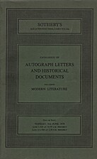 Catalogue of Autograph Letters and…