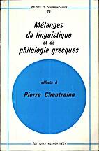 Mélanges de linguistique et de philologie…
