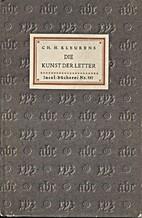 Die Kunst der Letter [Insel-bucherei Nr.…