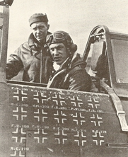 Author photo. Robert S. Johnson (right) with crew chief Ernest D. &quot;Pappy&quot; Gould. <a href=&quot;http://farm3.static.flickr.com/2555/3691773647_1d696c2673.jpg&quot;>Official U.S. Air Force photo</a>