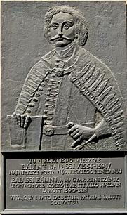 Author photo. Plaque dedicated to Bálint Balassi, Cracow, Poland. Photo by Iwona Grabska / Wikimedia Commons.