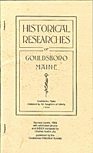 Historical Researches of Gouldsboro, Maine…