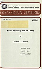 Sound Recordings and the Library by Sharon…