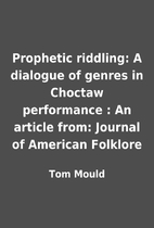 Prophetic riddling: A dialogue of genres in…