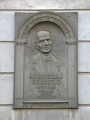Author photo. Mordechai Gebirtig commemorative plaque, 5 Berka Joselewicza Street - once Gebirtig's home, Kraków, Poland