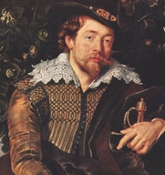 """Author photo. Detail from """"Self Portrait of the Painter and his Wife Isabella Brant under the Honeysuckle Arbor"""", c. 1609."""