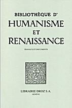 Bibliotheque D'Humanisme et Renaissance:…