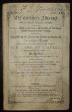 The Cricketers' Almanack for the Year 1866…