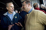 Author photo. Secretary of the Navy Donald C. Winter speaks with former Naval Academy star quarterback, Roger Staubach, left, prior to the Army-Navy football game, Dec. 1, 2007. U.S. Navy photo by Mass Communication Specialist 2nd Class Kevin S. O'Brien (Released)