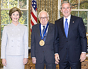 Author photo. President George W. Bush and Laura Bush present the National Medal of Arts award to Leonard Garment. White House photo by Eric Draper.