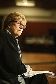 "Author photo. British journalist and writer Polly Toynbee, pictured at the ""National Poverty Hearing"" at Westminster; December 2006. (Photograph by flickruser cooperniall.)"