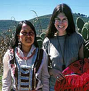 Author photo. Chloë Sayer with Mexican textile artist
