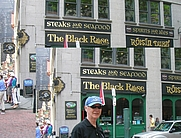Author photo. Michael Draper in front of The Black Rose in Boston