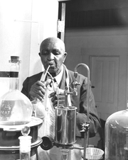 Author photo. George Washington Carver (1864-1943), reknowned agricultural chemist, working in his laboratory. USDA History Collection, Special Collections, National Agricultural Library.