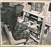 Author photo. Harriet Tidball weaving